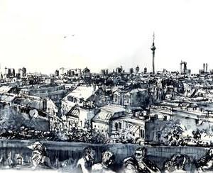 Klunkerkranich, panorama of Berlin (Berlin- Neukölln)- 02.09.14 © Laetitia Hildebrand Ink, wash, dry pastel